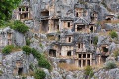 Forntida gravvalv i Myra, Turkiet Fotografering för Bildbyråer