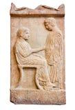 Forntida grekisk allvarlig stele från Piraeus (420 B.C.) Arkivbilder