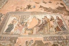 Forntida grekisk mosaik in i Paphos, Cypern Fotografering för Bildbyråer