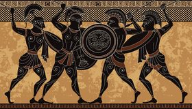 Forntida Grekland krigare Svart diagram krukmakeri Gammalgrekiskaplats arkivbild