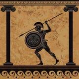 Forntida Grekland krigare Svart diagram krukmakeri sparta Forntida civilisationkultur royaltyfria bilder