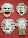 Forntida Grekland teatermaskeringar Royaltyfri Bild