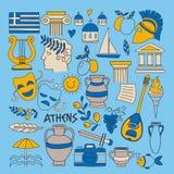 Forntida Grekland vektorbeståndsdelar i klotterstil reser, historia, musik, mat, vin royaltyfri illustrationer