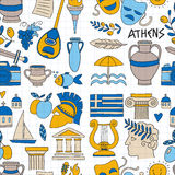 Forntida Grekland vektorbeståndsdelar i klotterstil reser, historia, musik, mat, vin vektor illustrationer