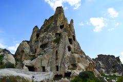 Forntida grottastad i Goreme, Cappadocia, Turkiet fotografering för bildbyråer