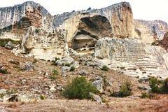 Forntida grottastad/stad av Crimean Tatar - Chufut-grönkål, Mangup-grönkål, Bakhchisaray Historiskt fördärvar och det fantastiska Royaltyfri Fotografi