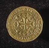 Forntida guld- mynt av republiken av Genua Italien Arkivbilder