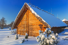 Forntida handelfabriksby på vintern i Pruszcz Gdanski Fotografering för Bildbyråer
