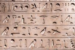 Forntida hieroglyf på stendetaljen Arkivbild
