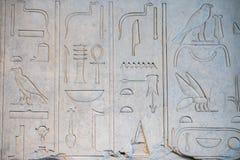 Forntida hieroglyf på stendetaljen Arkivbilder