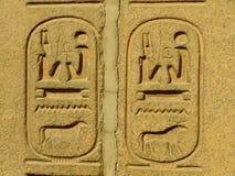 Forntida hieroglyfer på det utvändiga egyptiska museet för skärm, Kairo Arkivfoton