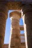 Forntida hieroglyfer på pelarna av den Karnak templet Royaltyfri Foto