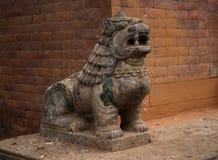 Forntida hinduisk gudinna Lion Sculpture Arkivfoto