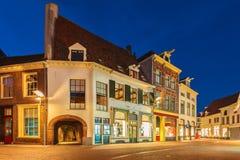Forntida hus i den historiska holländska staden av Zutphen Royaltyfria Foton