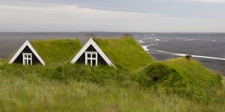 Forntida hus med grästaket i Island som förbiser en svart s royaltyfria foton