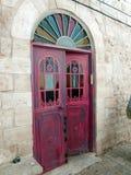 Forntida Israel Zefat dörr royaltyfria bilder