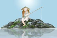Forntida japansk fiskare Arkivbilder