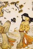 Forntida japansk traditionell klänning Arkivbilder
