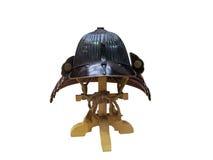 Forntida japanska samurajer, traditionell hjälm w för japanska soldater Royaltyfri Bild
