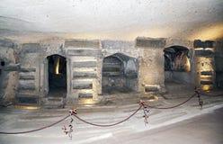 Forntida katakomber var, när San Gennaro begravdes royaltyfria bilder