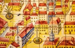 Forntida keramisk tegelplatta, museum Azulejo, Lissabon, Portugal Arkivbilder