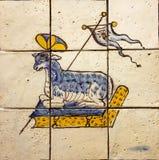 Forntida keramisk tegelplatta, museum Azulejo, Lissabon, Portugal Royaltyfria Foton