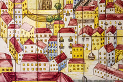 Forntida keramisk tegelplatta, museum Azulejo, Lissabon, Portugal Arkivbild