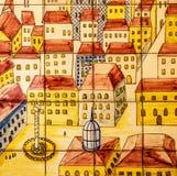 Forntida keramisk tegelplatta, museum Azulejo, Lissabon, Portugal Royaltyfria Bilder