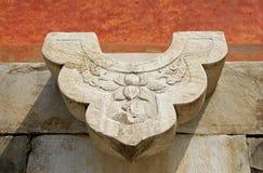 Forntida kinesisk arkitekturskulptur Arkivfoto
