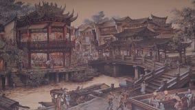forntida kinesisk by Bild av forntida Kina Kina forntida arkitektur i bambu Forest Art Royaltyfri Fotografi