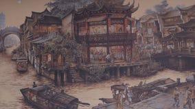 forntida kinesisk by Bild av forntida Kina Kina forntida arkitektur i bambu Forest Art Royaltyfria Bilder