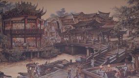 forntida kinesisk by Bild av forntida Kina Kina forntida arkitektur i bambu Forest Art Arkivfoto