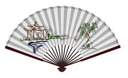 Forntida kinesisk fan med den sceniska fläcken Arkivbilder