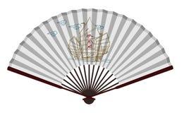 Forntida kinesisk fan med segelbåten vektor illustrationer