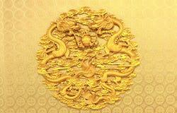 Forntida kinesisk lättnad med två drakar Arkivbild