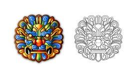 forntida kinesisk maskeringsstiltiger royaltyfri illustrationer