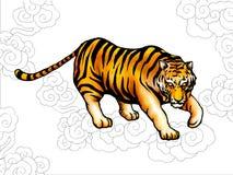 forntida kinesisk stiltiger stock illustrationer