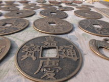 forntida kinesiska mynt Royaltyfri Foto