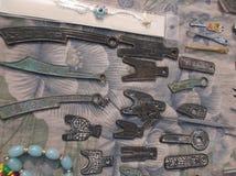 forntida kinesiska mynt Arkivbild