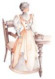 forntida klänninglady Royaltyfri Bild