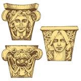 Forntida klassisk byggnad för detalj arkitektoniska dekorativa beståndsdelar kolonn för visning Tuscan, doriskt, jonisk och romer Royaltyfria Bilder