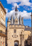Forntida klocka för Grosse Closhe Klocka torn, Bordeaux Arkivfoton