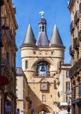 Forntida klocka för Grosse Closhe Klocka torn, Bordeaux Arkivbild