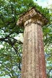 Forntida kolonn i arkeologiskt museum i Olympia Grekland Fotografering för Bildbyråer