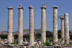 Forntida kolonner, Afrodisias/Aphrodisias forntida stad, Turkiet arkivbild