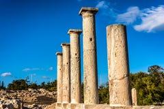 Forntida kolonner på fristaden av Apollo Hylates Limassol Distric Royaltyfri Foto