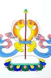 forntida konst som målar den tibetana väggen Arkivfoto