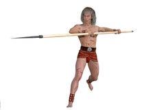 Forntida krigare med spjutet royaltyfri illustrationer