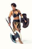 Forntida krigarekvinna Arkivbild