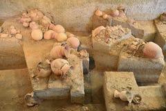 Forntida krukmakeri av förbudet Chiang, Thailand arkivfoto